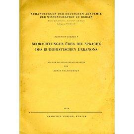 Akademie Verlag Beobachtungen über die Sprache des Buddhistischen Urkanons, von Heinrich Lüders