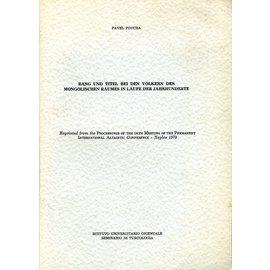 Istituto Universitario Orientale Rang und Titel bei den Völkern des Mongolischen Raumes im Laufe der Jahrhunderte, von Pavel Poucha
