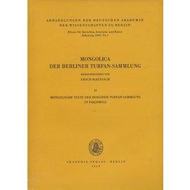 Akademie Verlag Berlin Mongolica der Berliner Turfan-Sammlung (2), von Erich Haenisch