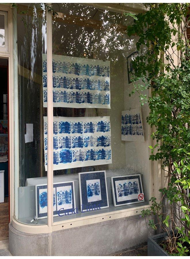 Block print - Amsterdam in blue - framed - Rick Triest - 40x50 cm
