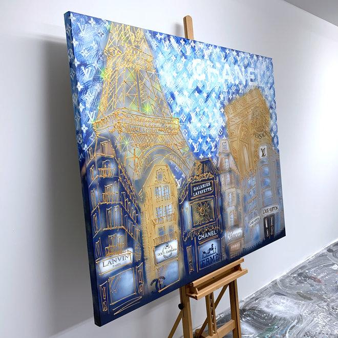 Schilderij- Rick Triest -  130x160 cm - Luxury Metropolis - Paris ''desires'' in Gold