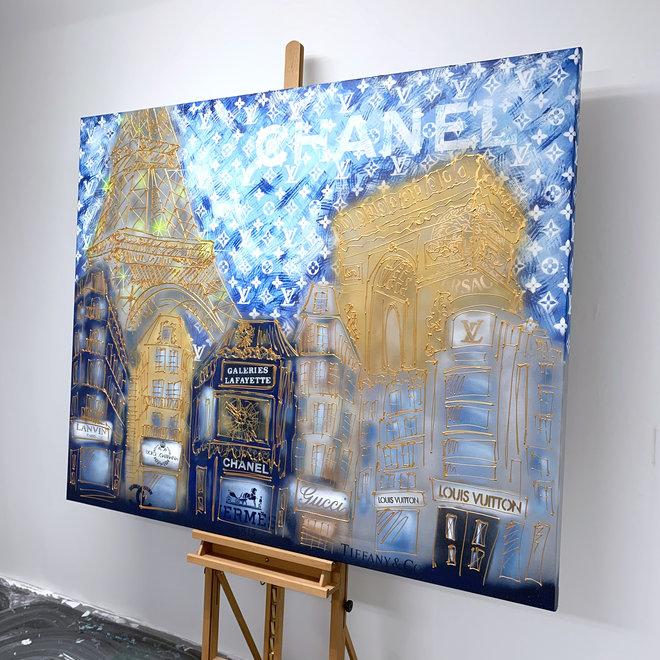 Painting  - 130x160 cm - Luxury Metropolis - Paris ''desires'' in Gold