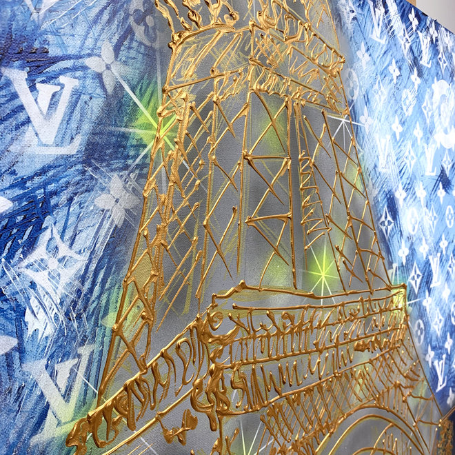 Painting - Rick Triest - 130x160 cm - Luxury Metropolis - Paris ''desires'' in Gold