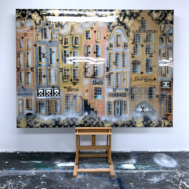 RESIN Painting  - 150x180 cm - Luxury Black and Gold Amsterdam ''Desire''
