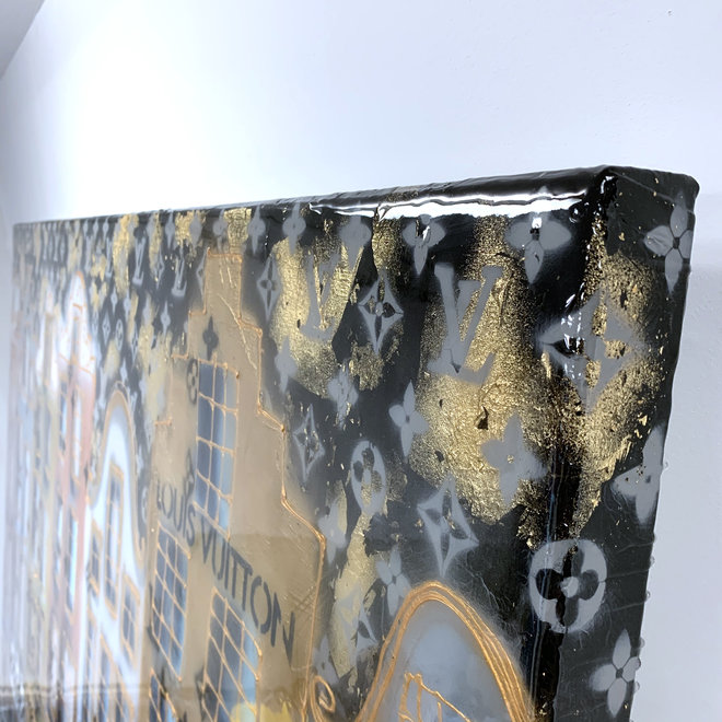 RESIN Painting - Rick Triest - 150x180 cm - Luxury Black and Gold Amsterdam ''Desire''