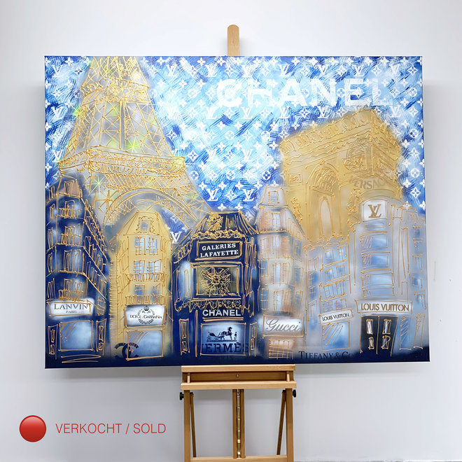 Schilderij -130x160 cm - Luxury Metropolis - Paris ''desires'' in Gold