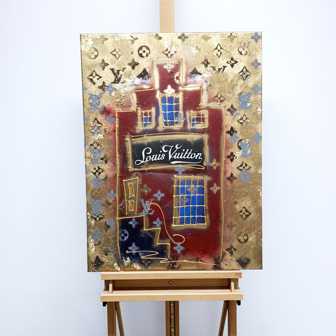 RESIN Schilderij -60X80 cm - Luxury shop mansion - LV GOLD