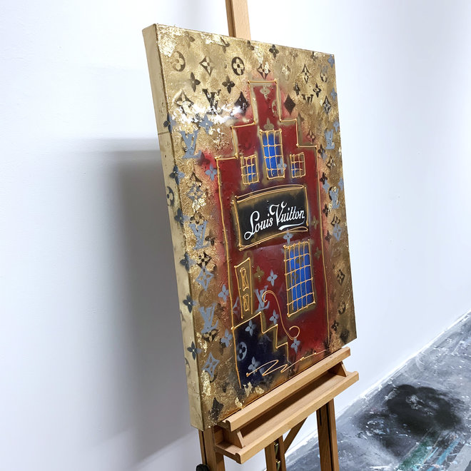 RESIN Painting - Rick Triest - 60X80 cm - Luxury shop mansion - LV GOLD