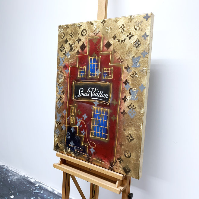 RESIN Schilderij- Rick Triest -  60X80 cm - Luxury shop mansion - LV GOLD
