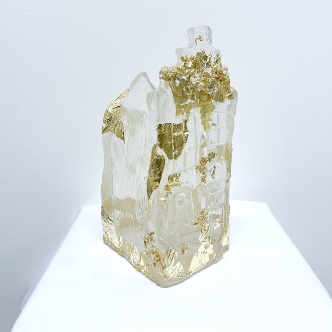Amsterdam Canal house - Unique resin object -  Vase Gold