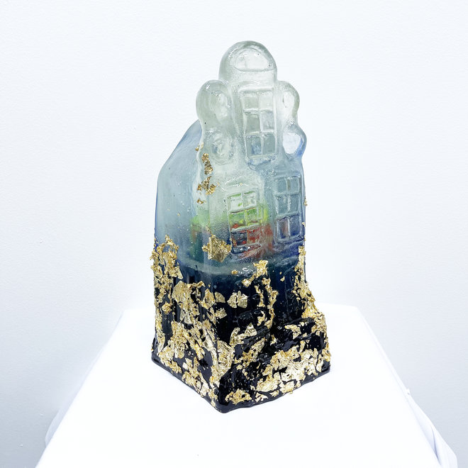 Amsterdam Canal house - Unique solid resin object - Blue & gold - aerosol