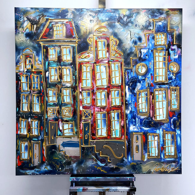 Schilderij -120X120cm - Amsterdam in Ruby Red and Blue - Herengracht
