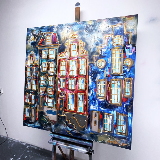 Schilderij- 120X120cm -Rick Triest - Amsterdam in Ruby Red and Blue - Herengracht