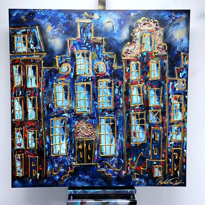 Painting  - 120X120cm- Amsterdam at night - Herengracht
