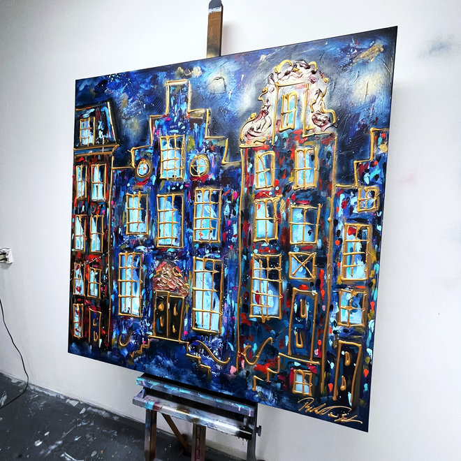 Painting - Rick Triest - 120X120cm - Amsterdam at night - Herengracht