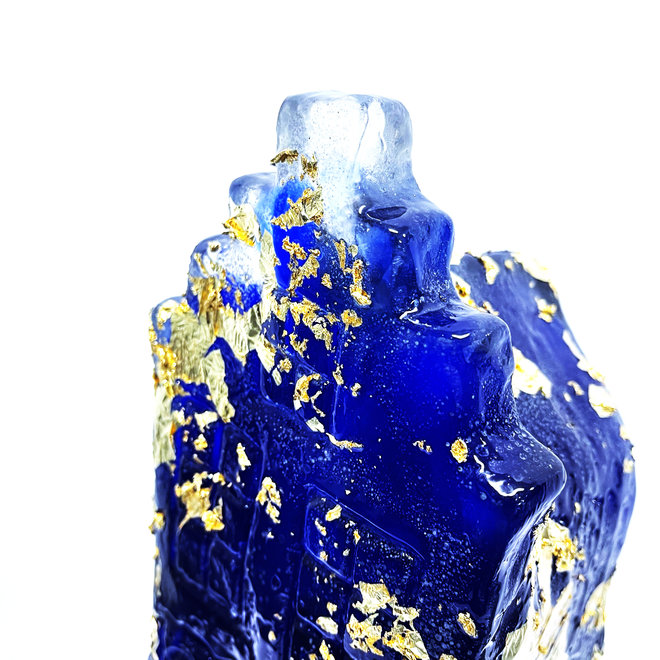 Amsterdam Canal house - Unique resin object -   blue and gold