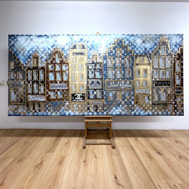 Schilderij -140x300 cm - Luxury Amsterdam LV in blue and Gold Designer shops