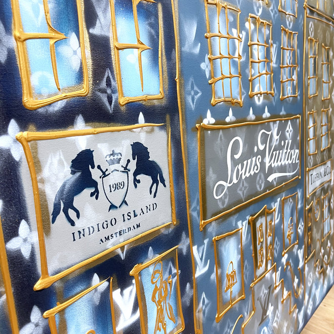 Schilderij- Rick Triest -  140x300 cm - Luxury Amsterdam LV in blue and Gold Designer shops