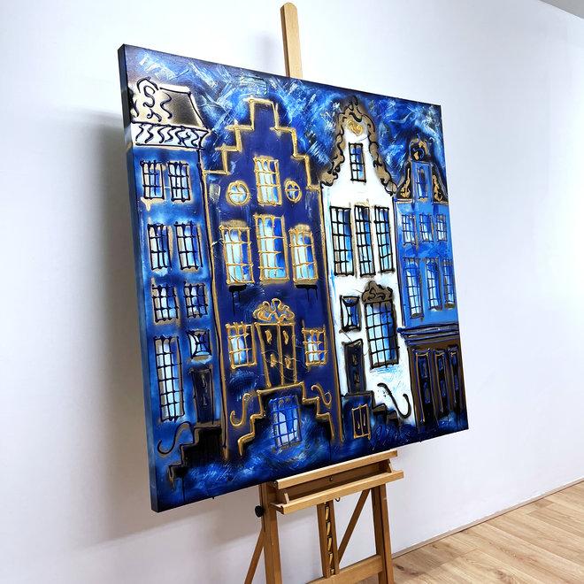 Schilderij -120X120cm - Amsterdam in Denim blue and Gold - Herengracht