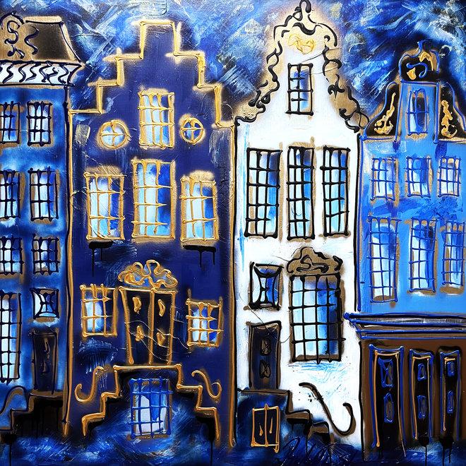 Schilderij- 120X120cm -Rick Triest - Amsterdam in Denim blue and Gold - Herengracht