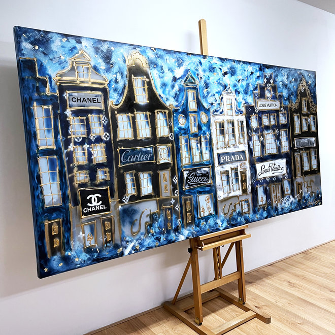 Painting  - 120x250 cm - Luxury Amsterdam LV in light blue and Gold Designer shops