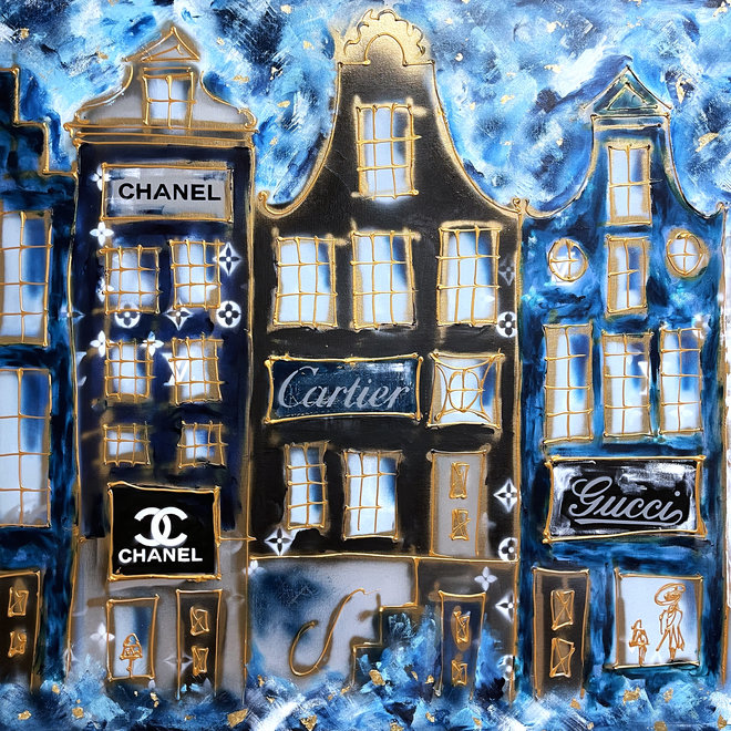 Painting - Rick Triest - 120x250 cm - Luxury Amsterdam LV in light blue and Gold Designer shops