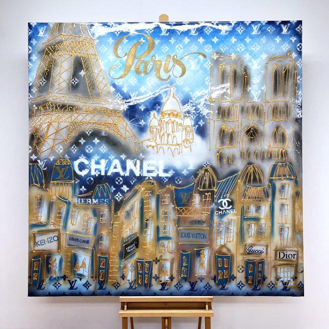 RESIN Schilderij -140x140 cm - Luxury Metropolitan art - Paris ''DESIRES'' in Gold & blue