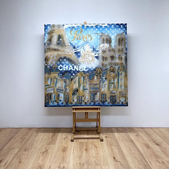 RESIN Schilderij- Rick Triest -  140x140 cm - Luxury Metropolitan art- Paris ''DESIRES'' in Gold & blue