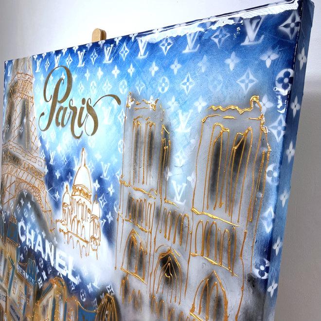 RESIN Painting - Rick Triest - 140x140 cm - Luxury Metropolitan art - Paris ''DESIRES'' in Gold & blue