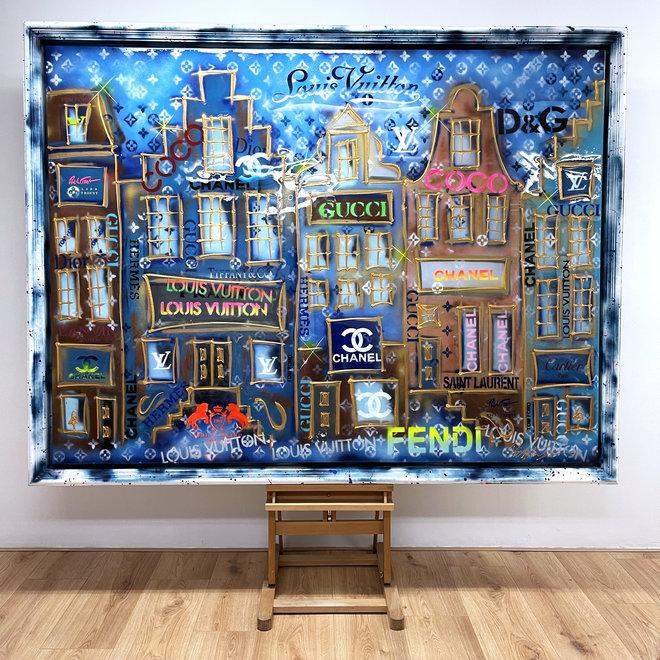 RESIN EPOXY - Schilderij -150x200 cm - Luxury POP ART - ''Designer street - Neon LV