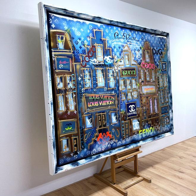 RESIN EPOXY - Painting - Rick Triest  - 150x200 cm - Luxury POP ART - ''Designer street - Neon LV