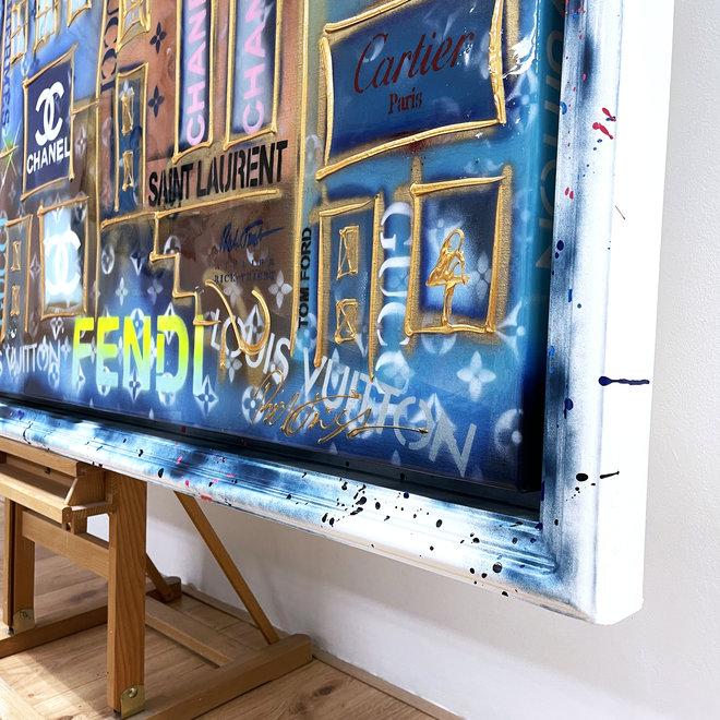 RESIN EPOXY - Schilderij- Rick Triest -150x200 cm - Luxury POP ART - ''Designer street - Neon LV