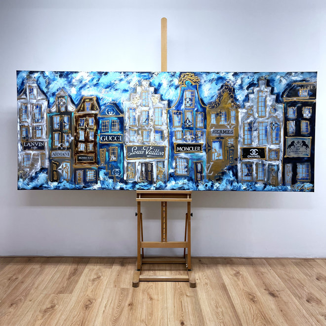 Painting  - 100x250 cm - Luxury Amsterdam - blue and Gold Designer shops