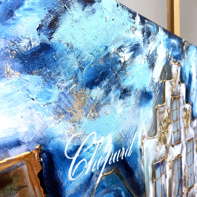 Painting - Rick Triest - 100x250 cm - Luxury Amsterdam - blue and Gold Designer shops