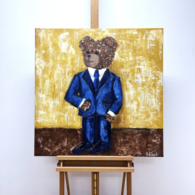 Painting - Rick Triest - 80x80 cm - Sir Bobby the Teddybear - oil painting  ''Sir. Bobby in his brand new suit''
