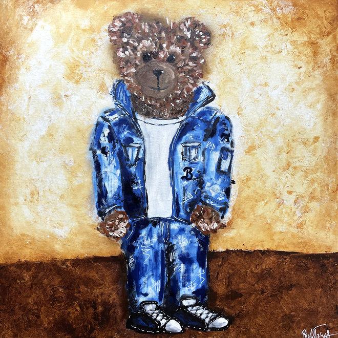 Olieverf schilderij- 80x80 cm -Rick Triest -Sir Bobby de teddybeer - olieverf schilderij  ''Sir. Bobby in denim outfit''