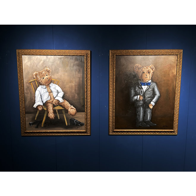 Olieverf schilderij- 80x100 cm -Rick Triest -Sir Bobby de teddybeer -  ''Sir Bobby is ready for the party (pre-party)''