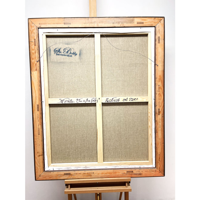 Painting - Rick Triest - 80x100 cm - Sir Bobby the Teddybear -''Sir Bobby op de after party''