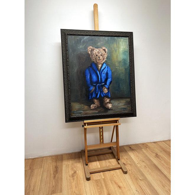 Olieverf schilderij- 80x100 cm -Rick Triest -Sir Bobby de teddybeer - ''Sir Bobby @ home''