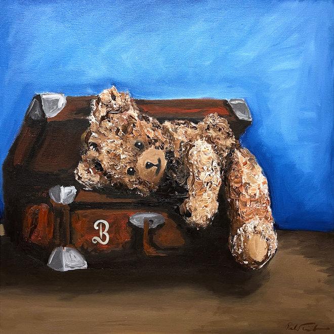 Painting - Rick Triest - 80x80 cm - Sir Bobby the Teddybear -  ''Classic Sir. Bobby want to travel''