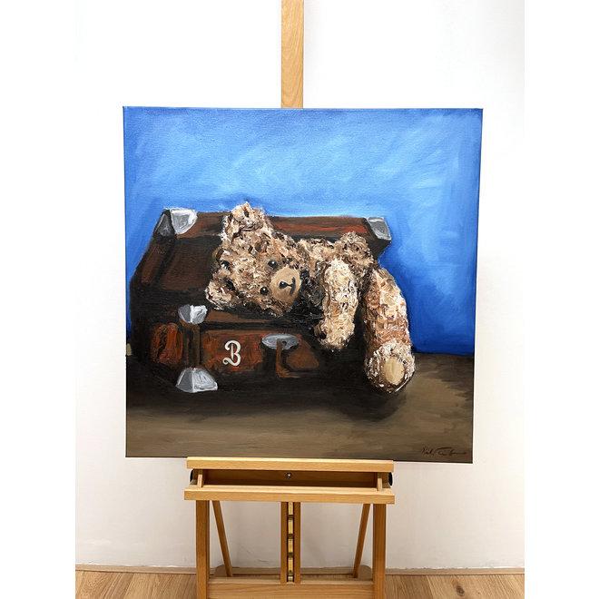 Olieverf schilderij- 80x80 cm -Rick Triest -Sir Bobby de teddybeer -  ''Classic Sir. Bobby want to travel''