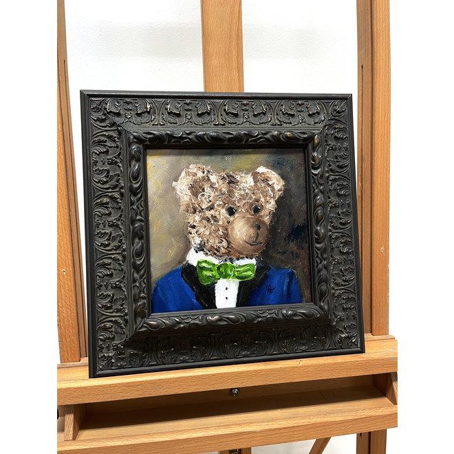Painting - Rick Triest - 20x20 cm - Sir Bobby the Teddybear - ''Classic Sir. Bobby portret met strik''