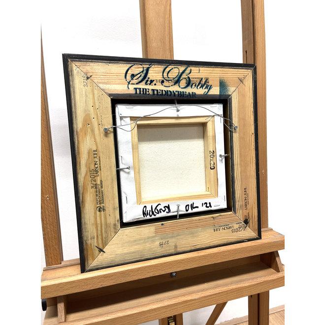 Olieverf schilderij- 20x20 cm -Rick Triest -Sir Bobby de teddybeer -  ''Classic Sir. Bobby portret met strik''
