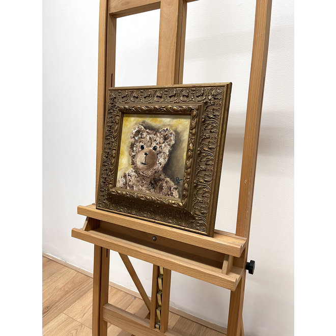 Olieverf schilderij- 20x20 cm -Rick Triest -Sir Bobby de teddybeer -  ''Classic Sir. Bobby portret''