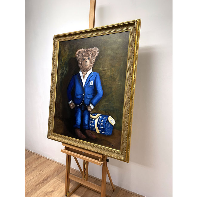 Painting - Rick Triest - 80x100 cm - Sir Bobby the Teddybear  ''in his new matching suit''