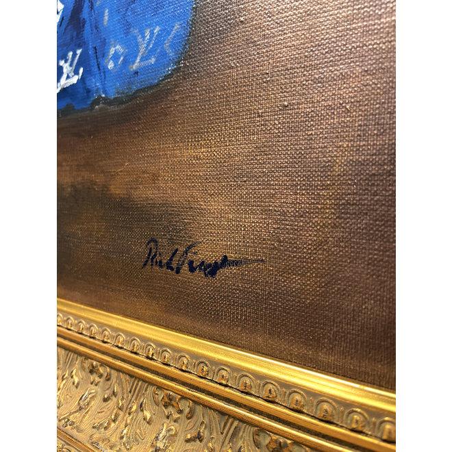 Olieverf schilderij- 80x100 cm -Rick Triest -Sir Bobby de teddybeer -  ''in his new matching suit''