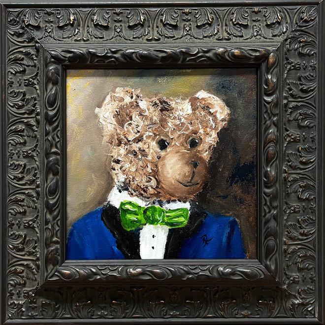 Olieverf schilderij  ''Classic Sir. Bobby portret met strik''