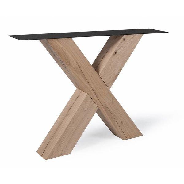Eiken X-tafelpoten (SET) 12x12cm - 78 cm breed - 72 cm hoog - Rustiek eikenhout - OPGEBORSTELD