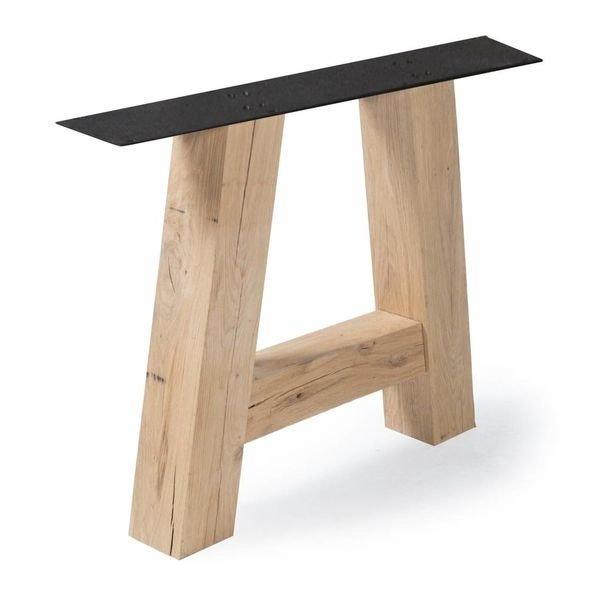 Eiken A-tafelpoten (SET) 12x12cm - 78 cm breed - 72 cm hoog - Rustiek eikenhout - OPGEBORSTELD