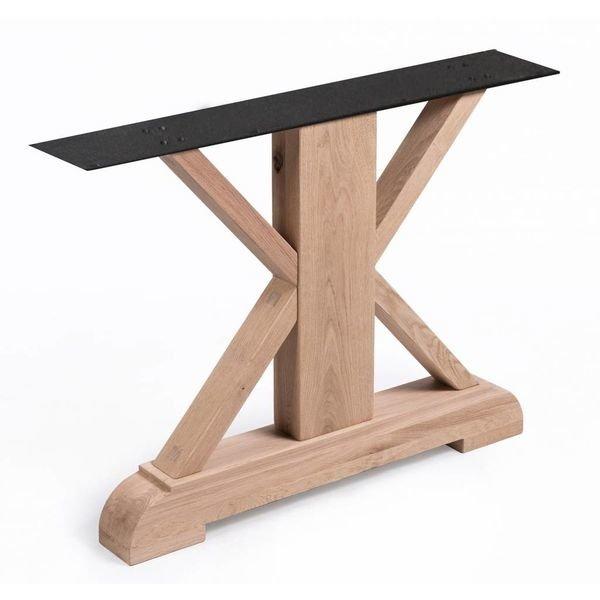Eiken landelijke tafelpoten (SET) - 96 cm breed - 72 cm hoog - Rustiek eikenhout - OPGEBORSTELD